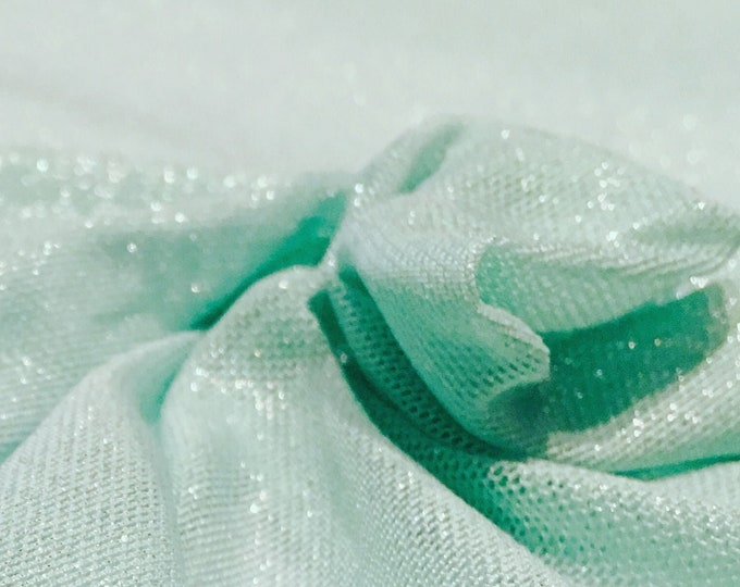 Seafoam Green Lightweight Mesh with Silver Metallic Lurex/ 58 Wide/ Polyester Spandex/ 4-way Stretch/ Fabric By The Yard/ BTY/ Cut To Order