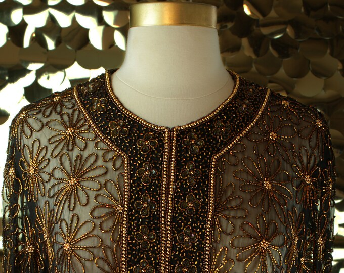 Mark & John by GoPal Black + Copper Beaded L/S Jacket