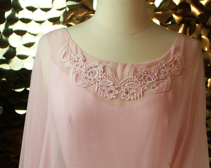 NEW Light Pink Vintage Flutter Cape Dress