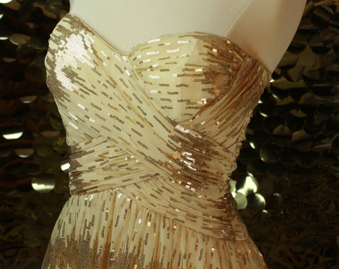 NEW Cream + Gold Sequin Roberta Gown