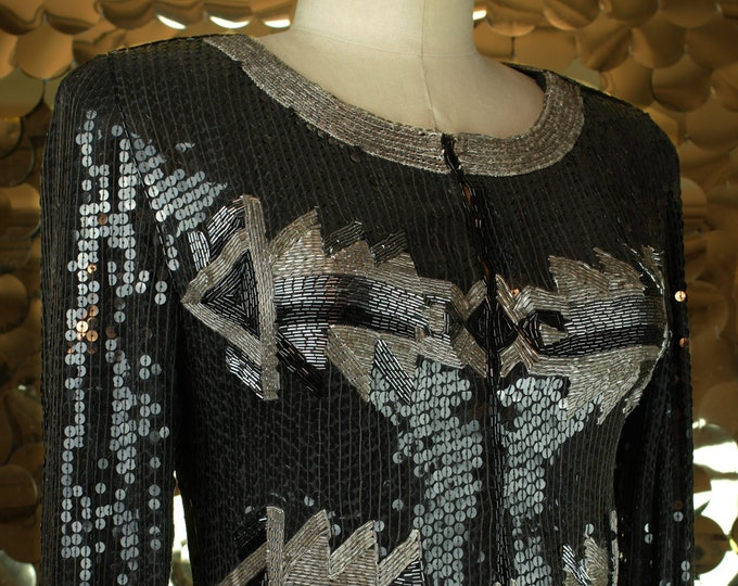 Black + Gunmetal L/S Art Deco Sequin Jacket