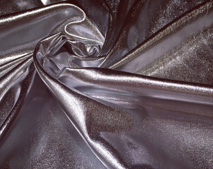 Silver Metallic Spandex/ Shiny Foil Stretch/ Fabric By The Yard/ BTY/ 58 Wide/ 4 Way/ Platinum Lycra Jersey/ Lame Nylon/ Aluminum Apparel