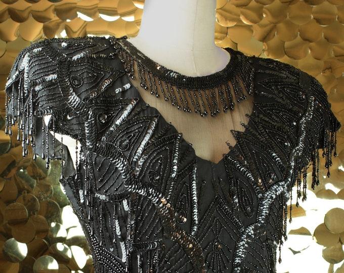 Black Laurence Kazar Embellished Flapper Dress