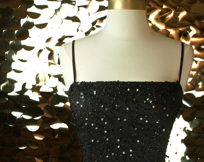 Black Night Way Sequin A-Line Dress
