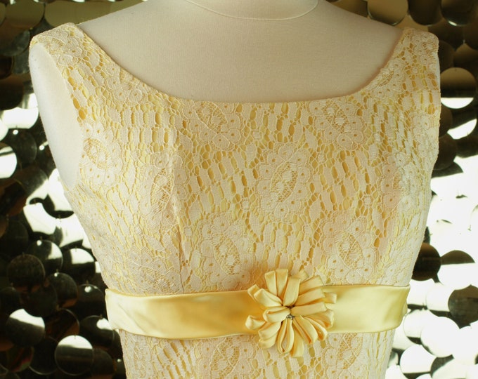 Canary Yellow Lace Sheath Dress