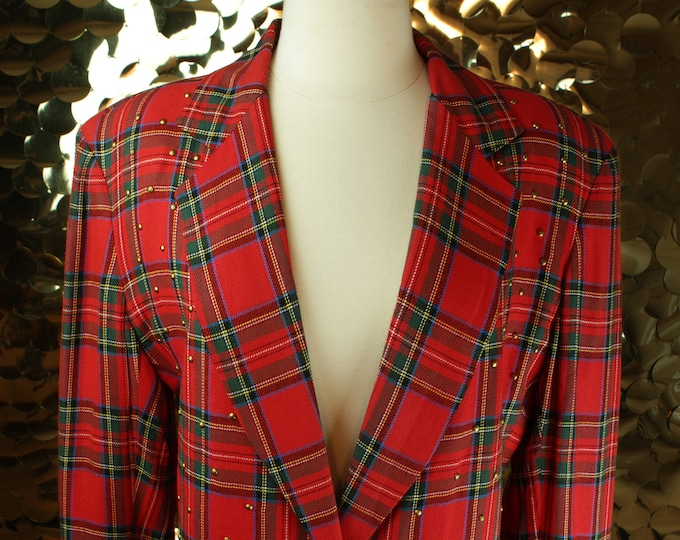 Red Tartan Plaid Cedars Blazer