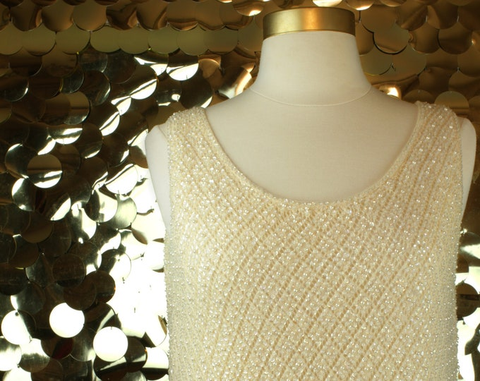 Cyn Les Cream Beaded Tank Top