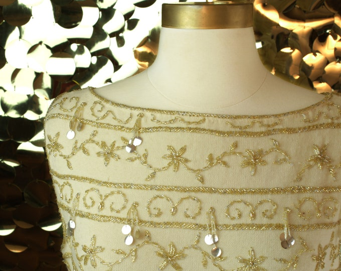 Cream & Gold Beaded Column Dress