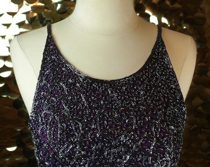 Cache Plum Beaded Gown