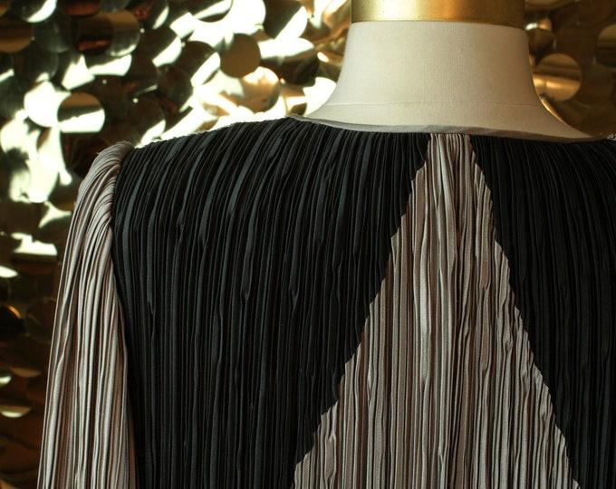 Grey + Black Pierre Labiche L/S Pleated Midi Dress