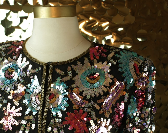 Laurence Kazar Multicolor Long Sleeve Sequin Jacket