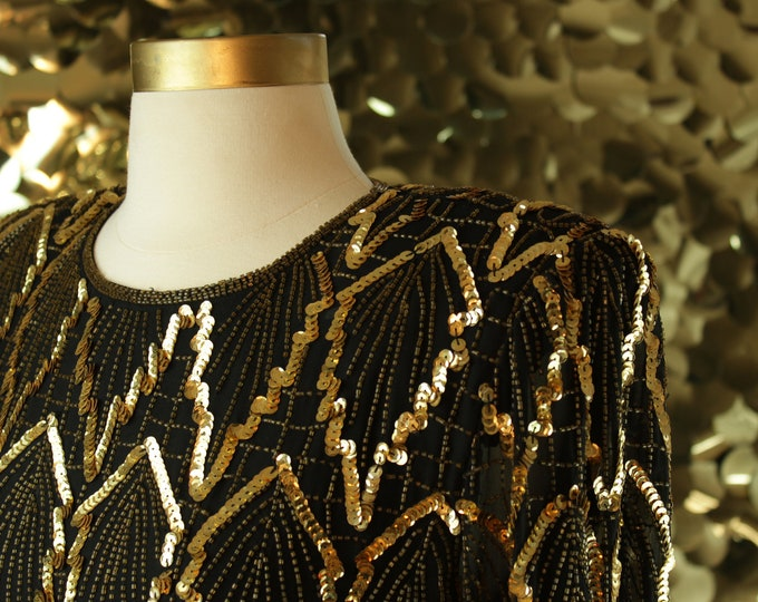 Laurence Kazar Black + Gold Sequin Leaf Top