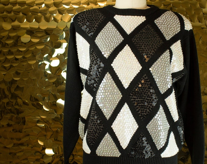 Alfred Dunner Black+ White+ Grey Sequin Argyle Pullover