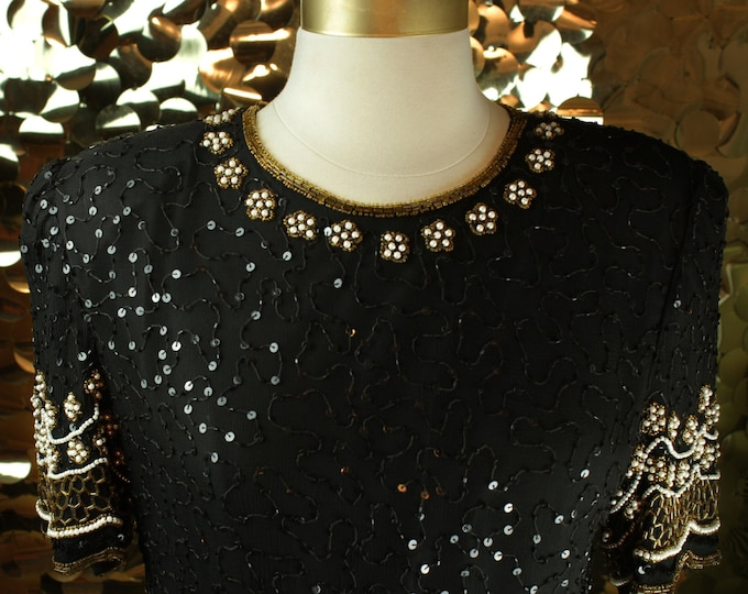 Black + Gold Laurence Kazar Scallop Top