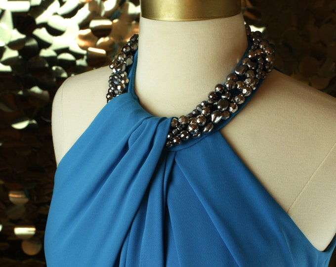 Turquoise Carmen Marc Valvo Jeweled Halter Gown