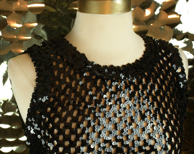 NEW Black A.Brod Sequin Mesh Top
