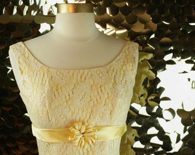 Canary Yellow Lace Sheath Dress