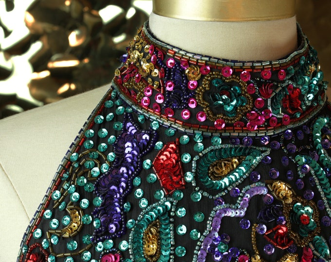 Scala Multicolor Sequin Halter Dress