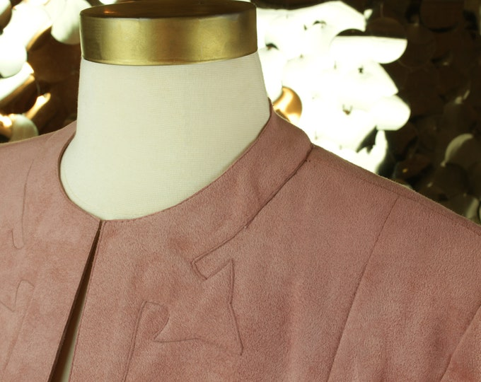 BUTTERY 80s 90s Dusty Rose Vintage Gino Rossi for Wilson Suede Cropped Jacket/ VTG/ Pink Long Sleeve Bolero/ Contemporary Daywear/Blush Moto