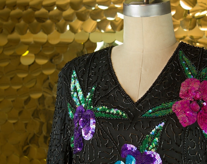 Floral Stenay S/S Sequin+Beaded Top
