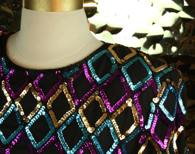 NEW Teal + Gold + Purple Stenay Confetti Sequin Top
