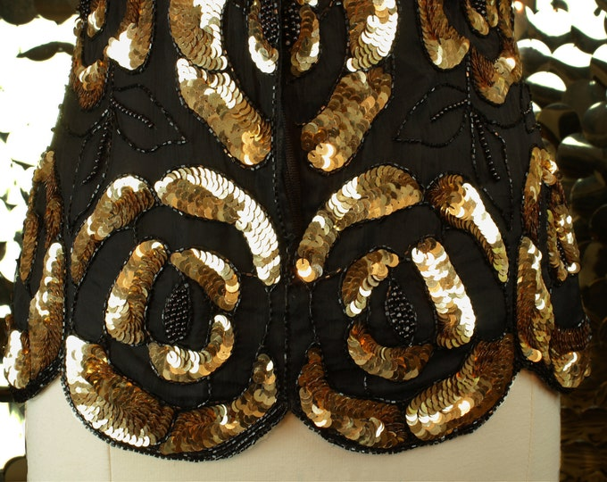 NEW Stenay Black+Gold Sequinned Rose Top