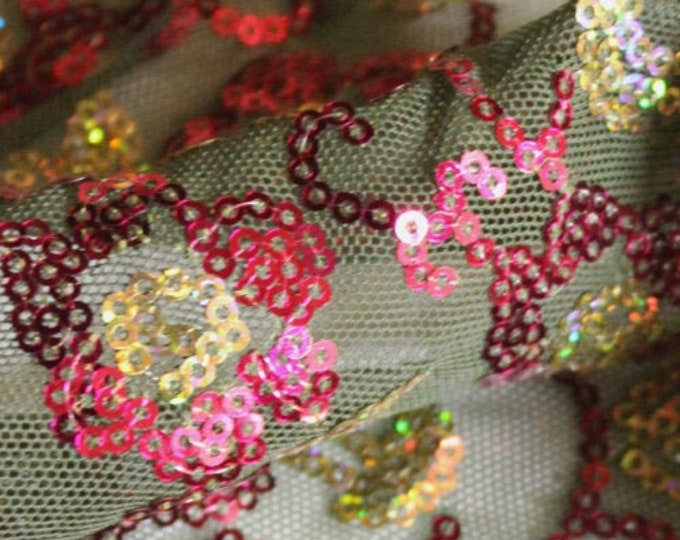"Hot Pink & Gold Floral Sequin Pattern on Olive Green Mesh Fabric/ 48 49"" Wide Lightweight Netting/ Stretch Poly Spandex/ Fabric By The Yard"