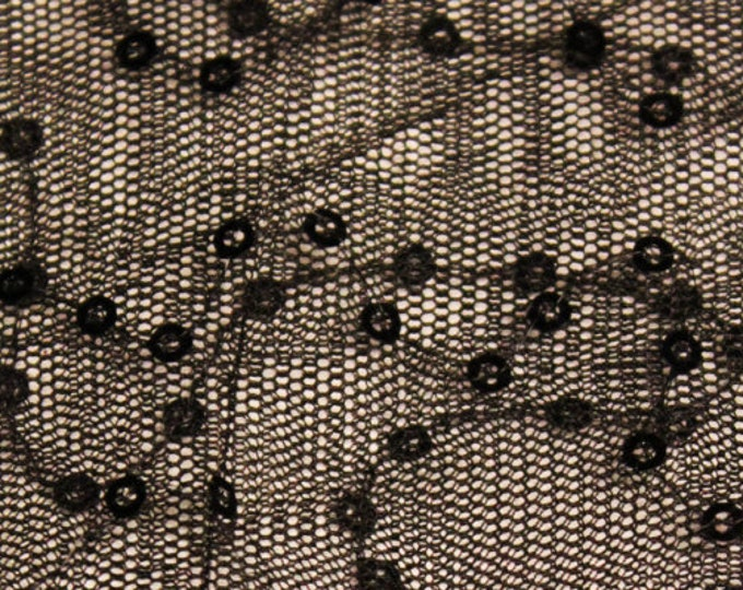Black Sequin Wave Pattern on Black Mesh/ BTY/ Fabric By The Yard/ 52 54 Wide/ Polyester Spandex/ Sheer Stretch Netting/ Decorative Tulle