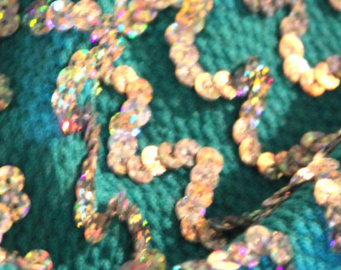 Silver Hologram Sequin Wave Stripe (Horizontal) on Emerald Knit/ 37 38 Wide/ Cotton Knit/ BTY/ Fabric By The Yard/ Iridescent Holographic
