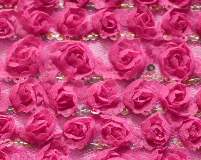 """Hot Pink 3D Polyester Rosettes on Mesh/ BTY/ Fabric By The Yard/ Novelty Bridal Wedding/ Stretch Glam Netting/ Luxury Sequin/ 52 53"""" Wide"""
