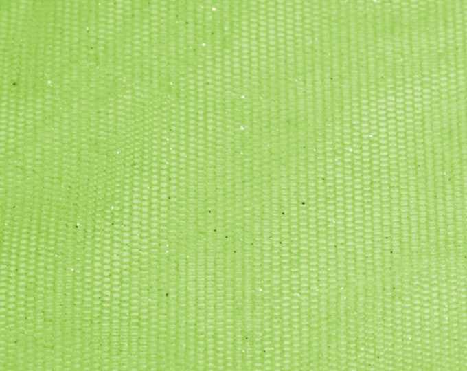 Shimmery Lime Green Tulle/ BTY/ Fabric By The Yard/ Metallic Sparkle Netting/ 58 60 Wide Polyester/ Silver Glitter Mesh/ Iridescent Stretch