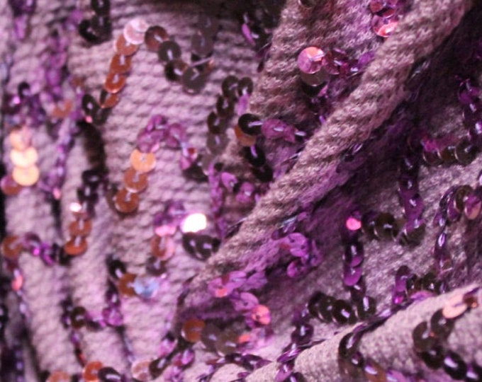 Lilac Sweater Sequin Knit/ Midweight Squiggle 80s/ Purple Stretch Escadrille/ Dancewear Costume/ Skating Flamboyant Sparkle/ By The Yard