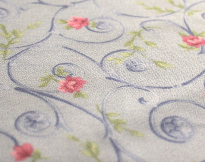 Whimsical Floral Print Pink + Green + Dark Blue on a Pale Blue Polyester/ 56 58 Wide/ BTY/ Fabric By The Yard/ Botanical Novelty Lightweight