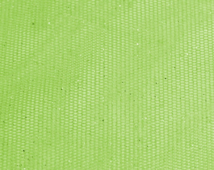 Shimmery Lime Green Tulle/ BTY/ Fabric By The Yard/ Metallic Sparkle Netting/ 58 60 Wide Polyester/ Silver Glitter Mesh/ Iridescent Stretcg