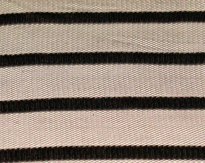 """Black Stripe on Black Stretch Mesh/ 58 60"""" Wide/ Poly Spandex/ Fabric By The Yard/ BTY/ Lightweight Netting/Sheer Overlay Material/Glam Sexy"""