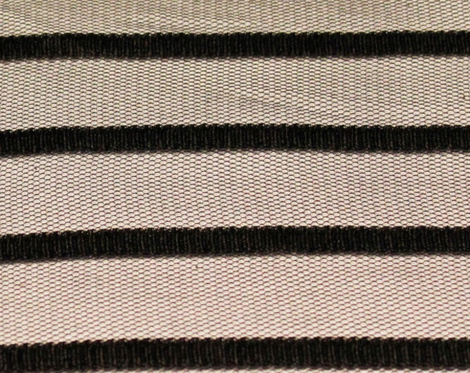 "Black Stripe on Black Stretch Mesh/ 58 60"" Wide/ Poly Spandex/ Fabric By The Yard/ BTY/ Lightweight Netting/Sheer Overlay Material/Glam Sexy"
