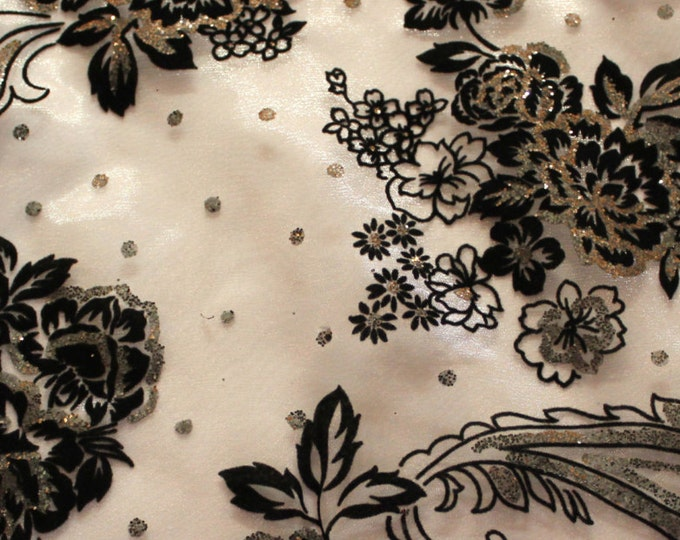 Black + White + Silver Novelty Fabric/ Floral/ Velvet/ Dots/ Costume/ Juvenille/ Dancewear/ Swimwear/ Skating/ Formal/ Bridal/ Craft/Organza