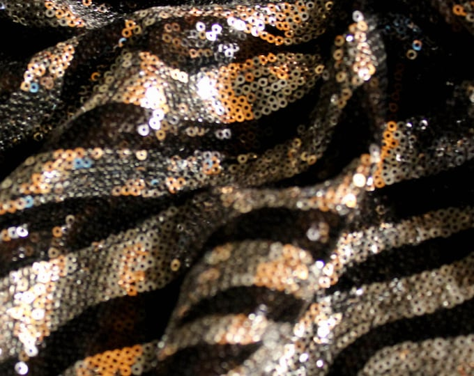 "Silver & Black Sequin Zebra Pattern Poly Spandex/ 52 53"" Wide/ Cut To Order/ Fabric By The Yard/ Sewing Supplies/ Embellished Animal Print"