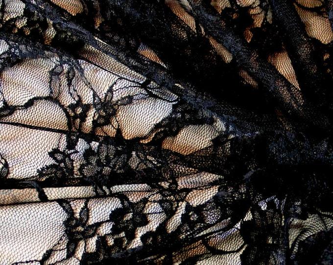 Black Stretch Lace/ Goth Fabric By The Yard/ Dancewear/ Swimwear/ Theatrical/ Costume/ Floral/ Sheer/ Mesh/ Fashion Fabric/ Leotard/ Bikini