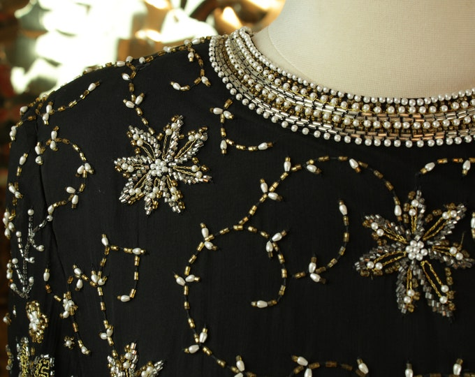 Laurence Kazar Black and Gold Beaded Top