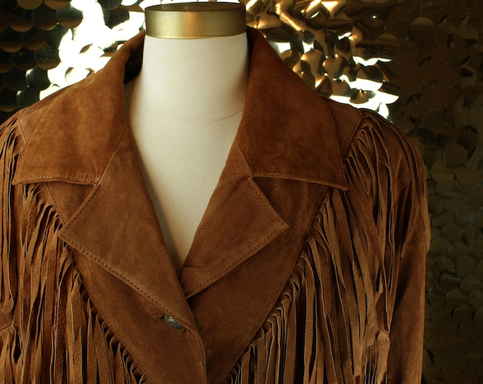 Brown Global Identity Suede Fringe Jacket