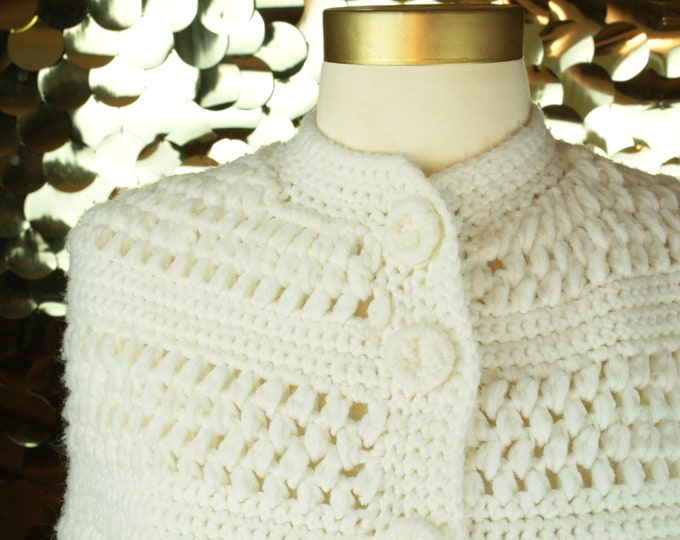 White Crochet Cape