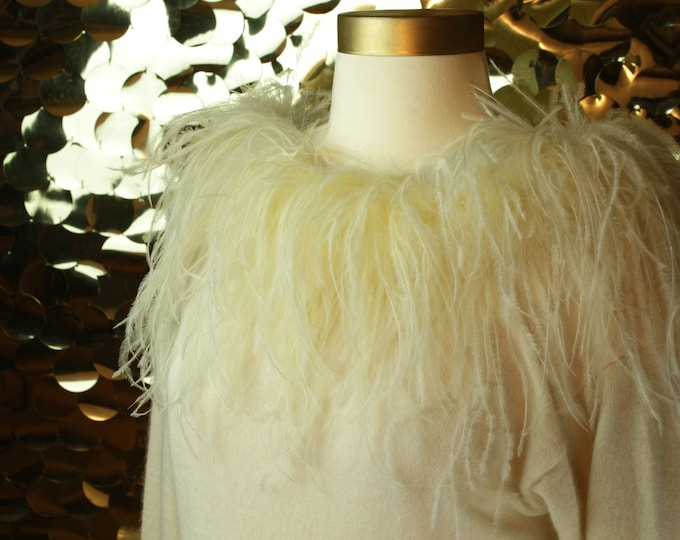 Cream Claude Vernet Long Sleeve Sweater with Marabou Feathers