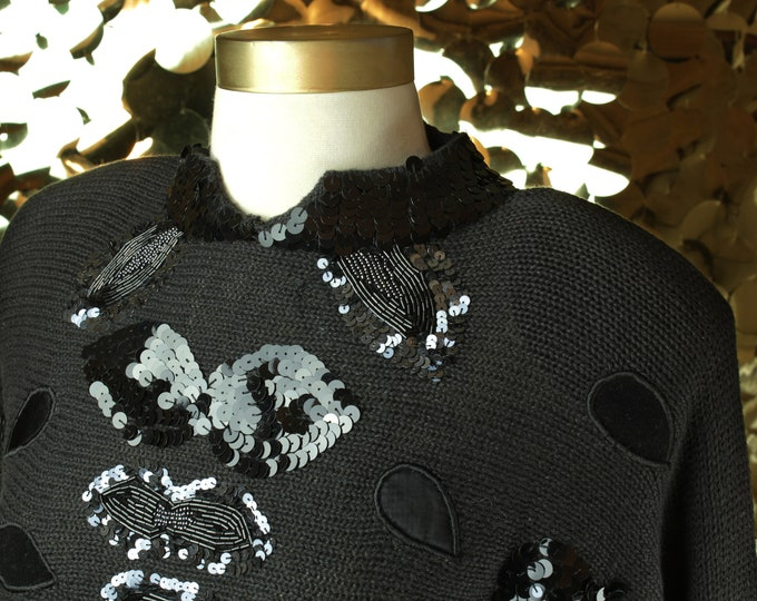 Bonnie & Bill By Holly Black Sequin Sweater