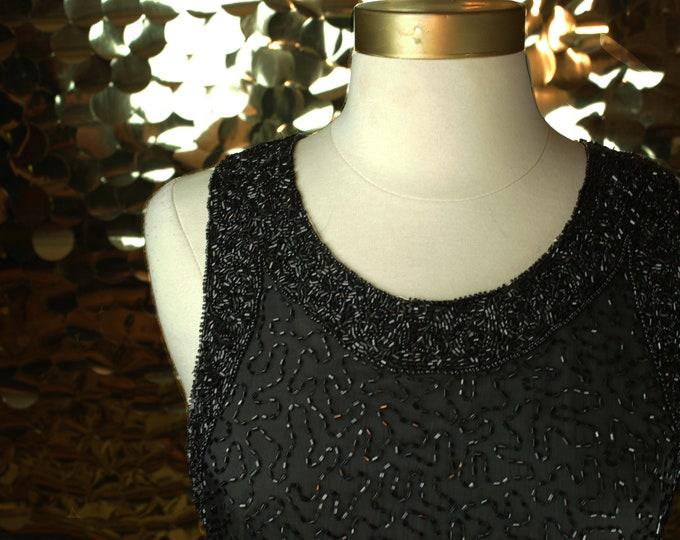 NEW Laurence Kazar Black Beaded Dress