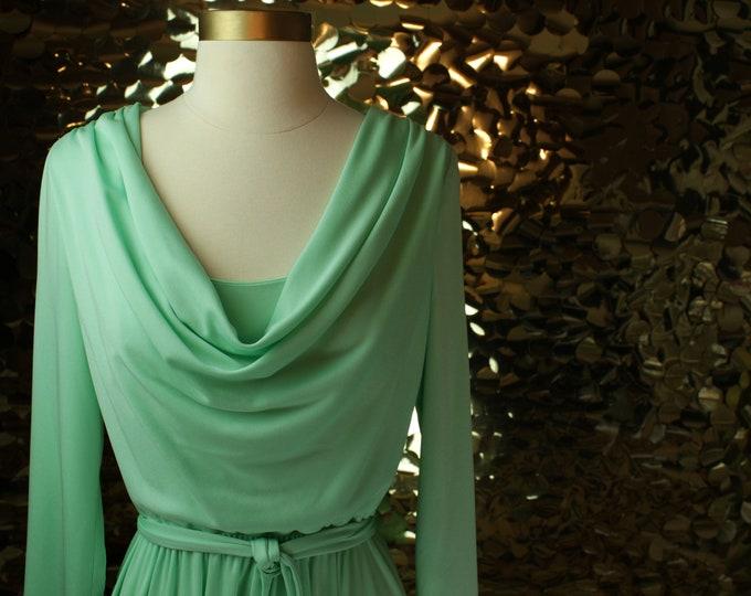 Mint Green Vintage Cowl Dress