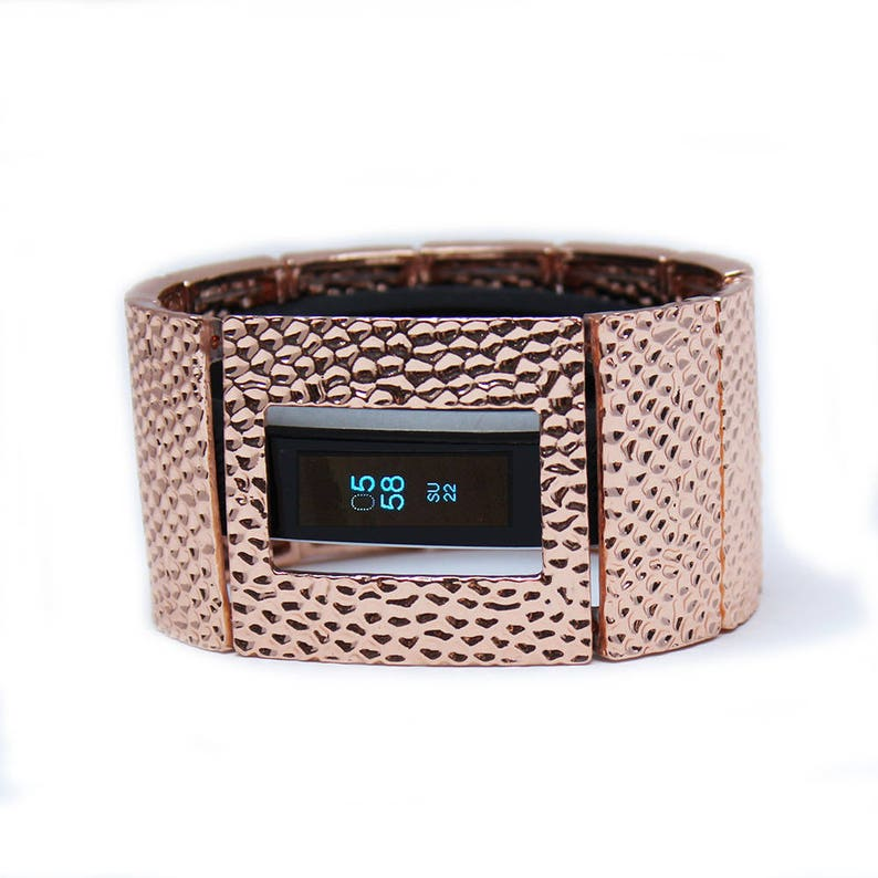 FitBit Alta Band Cover Bracelet and FitBit Alta HR Band Cover: Hammersmith  in Shiny Rose Gold with a Window