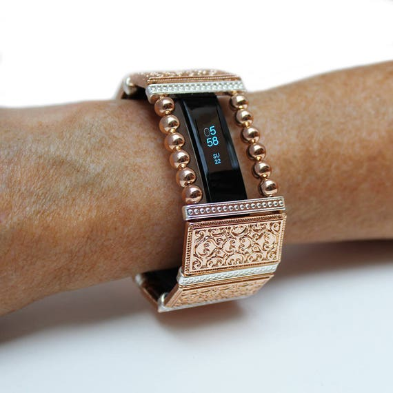 FitBit Alta Band Cover Bracelet and Fitbit Alta HR Band Cover: Rose Gold  Lallybroch Accented in Silver with a Window
