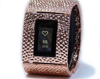 FitBit Inspire and Inspire 2 Cover Bracelet: Hammersmith in Shiny Rose Gold with a Window