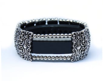 FitBit Inspire, Inspire HR, and Inspire 2 Band Cover Bracelet: Antique Silver Sandringham Scroll with Window